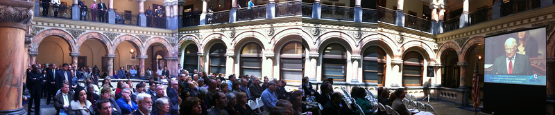 Panoramic view of the audience gathered in the Atrium.